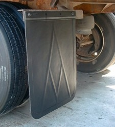 AV Mud Flap installed on a trailer